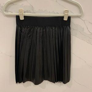 Black Leather Pleated Skirt